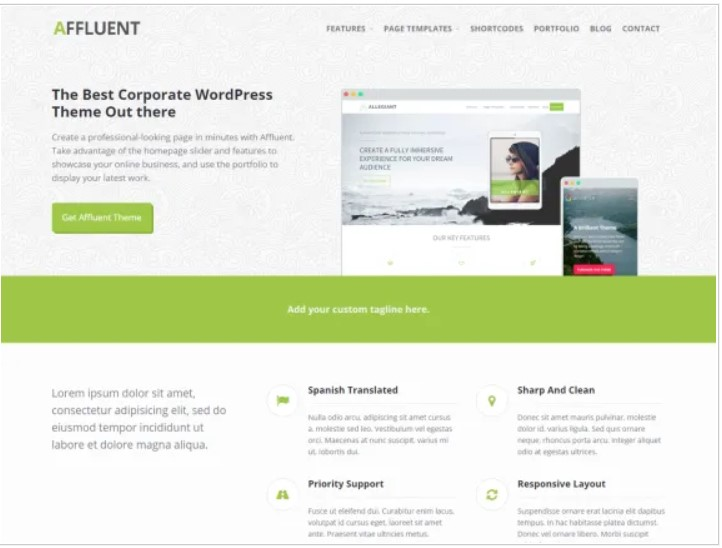 affluent wordpress theme