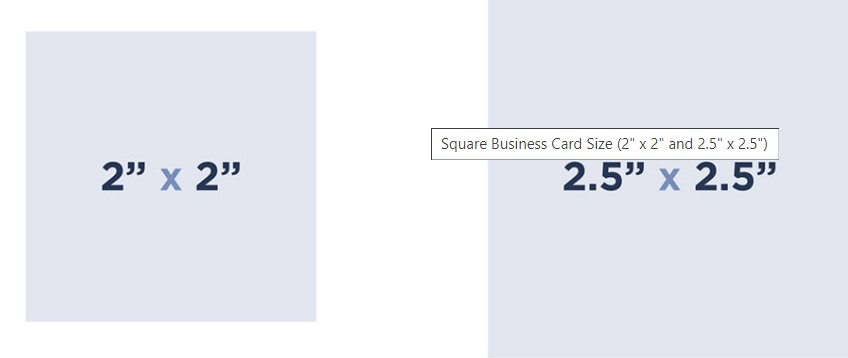Square shape business card