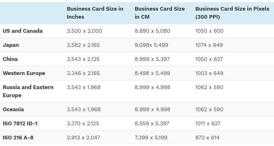 different business card sizes